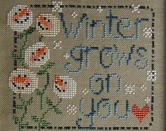 Winter Grows on You; Downloadable Pattern for Counted Cross Stitch; Snowman, snowflakes; PDF format