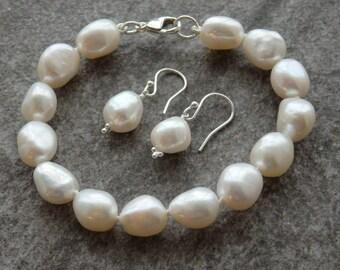 White Freshwater Pearls, Pearl Earring, Matching Pearls, Pearl Bracelet, Bridal Pearls, Wedding Pearls