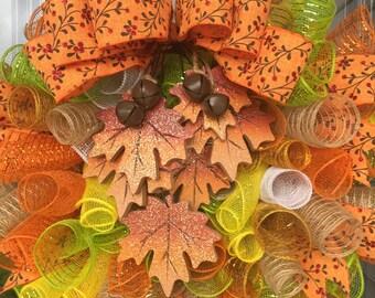 Fall Leaves Multi Color Mesh Wreath