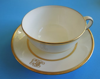 Large Breakfast Cup Saucer Set Cauldon England Gilded Rings Monogram Christmas Gift Wedding Anniversary Birthday Bridal Party Collector