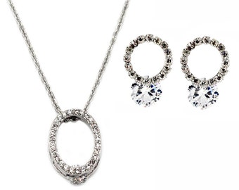 Delicate small oval crystal necklace earrings set