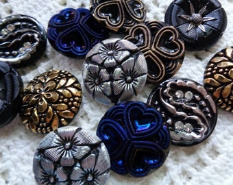 SALE 12 Czech art glass buttons in lustered and painted finishes 27mm FREE SHIPPING