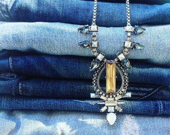 Jeweled Silver Statement Necklace, Crystal Necklace, Gift Idea, Under 10, Rhinestone necklace