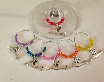 Set of 6 Hummingbird-themed Wine Glass Charms with Glass Seed Beads