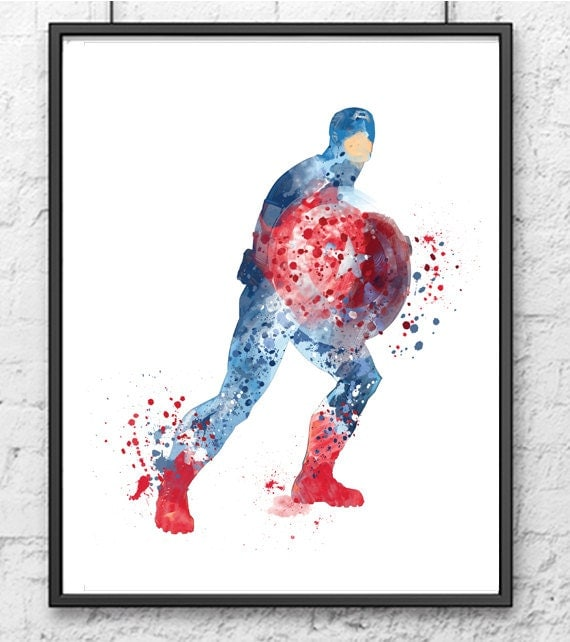 Avengers Watercolor: Captain America Watercolor Print Avengers Poster By