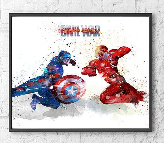 Avengers Watercolor: Avengers Watercolor Print Iron Man Captain By Gingerkidsart