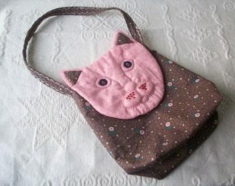 Hand Embroidered Cotton Cat Handbag
