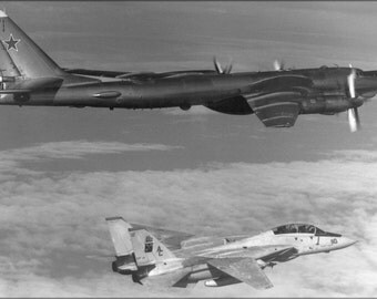 24x36 Poster . Soviet Tupolev Tu-95 Bear D Intercepted By F-14A Tomcat 1985