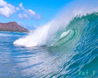 Alawai Boat Harbor Waves,Alamoana Bowls Barrel Photography,Diamond Head Photo,Waikiki Surf Decor,Surfer Gift Hawaii,Hawaiian Seascape Photo