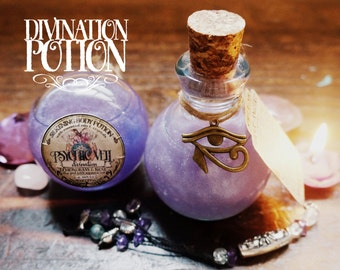 Divination Potion/Oil Blend *Psychic Veil* with Essential Oils and Crystals -Rose, Lemongrass & Aquamarine (110ml/3.7oz)