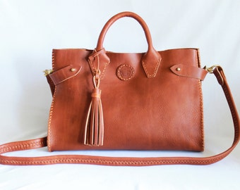 Sadie Leather Doctor's Bag Made in the USA  in Sienna Leather by Beargrass Leather, Horween Leather, Made in Montana -- FREE Shipping in USA