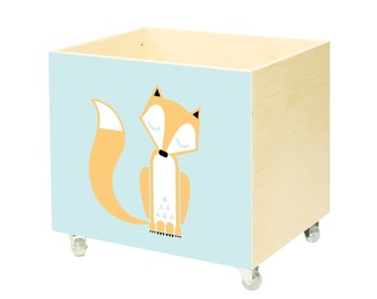 Big wooden toy chest, nursery toy box, toy bin storage, toy hope crate, fox, kids furniture,organizer wheels with brakes, casters,casters.
