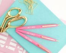 Like A Boss Pen, Motivational Pen, Gift for Her, Gift for Boss, Boss Lady, Girl Boss, Inspirational Pens, Ink Pen, Desk Accessories Pink Pen