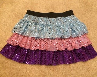 Children and girls sparkle running skirt with three layers