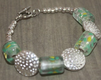 Green and yellow glass bead bracelet