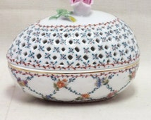 """Royal Danube jewelry / trinket porcelain box 4 1/2"""" tall, projection 5 x 3 3/8"""", weight 11 oz. Marked on the bottom"""