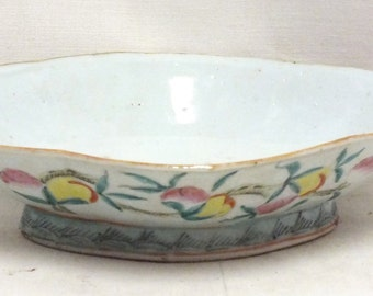 "Chinese Lotus bowl 10 1/2"" x 7 1/2"". No marks."