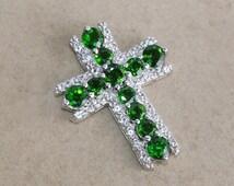 Russian chrome diopside white topaz 925 sterling silver pendant jewelry - Green pendant - Cross pendant - Christmas gift - Prong set pendant