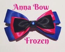 Anna - Frozen - Disney Inspired Clip in Hair Bow or Bow Tie - Size Medium