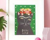 Frida Kahlo Cat Print