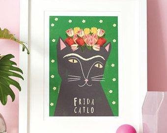 Frida Kahlo Cat Print