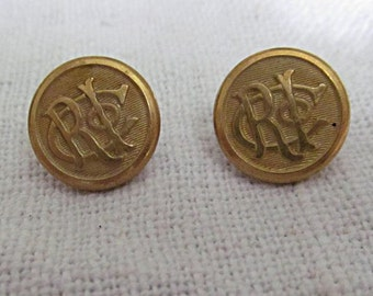 Two Gilt Uniform Buttons, Waterbury Button Co., Possibly Rhode Island