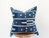 Authentic African Indigo Ikat Textile Pillow Cover