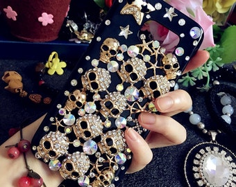 Bling Luxury Punk Metal Gilding Cute Punk Skull Cute Glitter Sparkly Crystals Rhinestones Diamonds Fashion Hard Cover Case for Mobile Phones