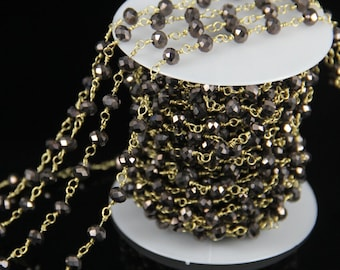 Gun Black Titanium Glass Faceted Rondelle Beads Chain,Rosary Plated Gold Wire Wrapped Gems Fashion Making Necklace Supplies Chains 10 feet