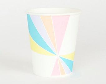 8 gobelets en carton pastel
