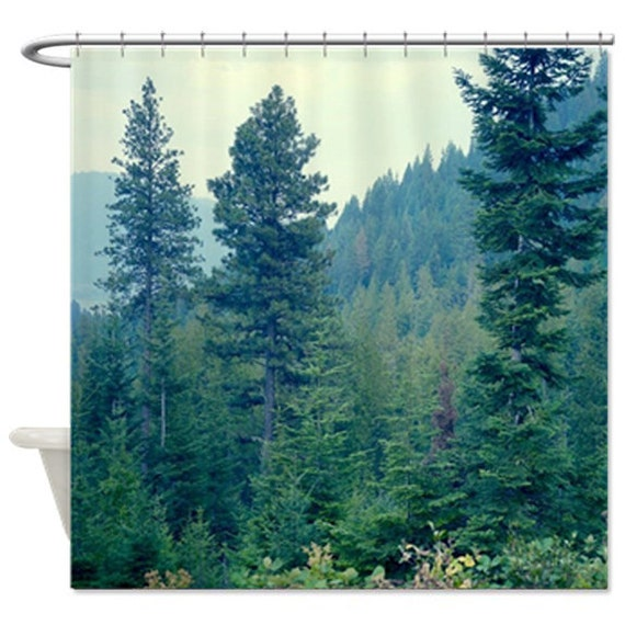 Forest shower curtain pine tree shower curtain green bath - Forest green shower curtain ...