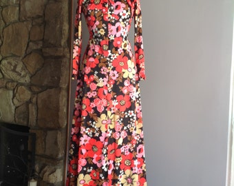 1960's Black Floral a Floor Length Evening a Gown - vintage gown, polyester gown, vintage evening gown