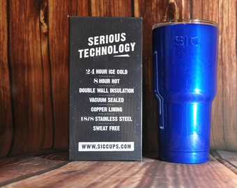 Personalized Sic Cup, Powder Coated Sic Cup, Monogramed Cup, Blue Cup, Engraved Cup, Engraved Sic Cup, Personalized Blue Cup, 30 oz Cup,