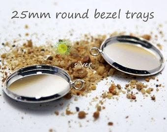 25mm Bezel Cup Pendant Trays-1 inch Cabochon Setting Blanks-Round Bezel Setting Bezel Tray-25mm Cabochon Base-Silver Pendant Base-Choose Qty