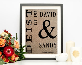 Vertical Family Sign | Family Established Print | Wedding Gift Last Name Establish | Burlap Print
