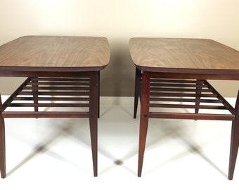 Pair of Lane Mid Century Modern Slated Shelf End Tables Side Tables