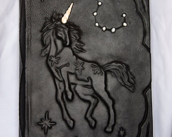 Large leatherbound blank handmade journal Unicorn