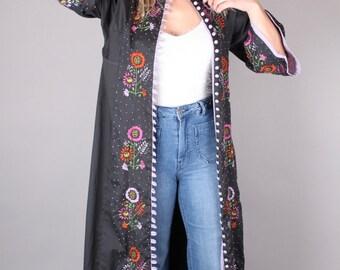 vtg 60's FLORAL EMBROIDERED DUSTER dress slate gray