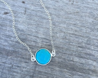 Sterling Silver Turquoise Necklace- Round Turquoise Necklace -Minimalist Necklace-Dainty Necklace -Petite Necklace -Layering necklace