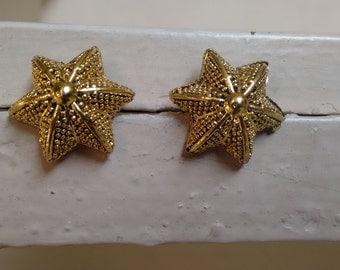 Starfish earrings, Starfish stud earrings, Puffed starfish Jewelry, Gold starfish earrings, Gold starfish jewelry, Beach earrings, Boho