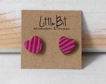 Wooden hand-painted heart earrings