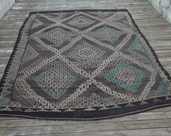 "Vintage TURKISH Cicim KILIM Flatweave Beautiful Pattern 10'9""x6'5""/327x195 cm FREE Shipping Item No. C-20"