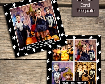 Happy Halloween - 5x5 Photoshop Card Template - INSTANT DOWNLOAD