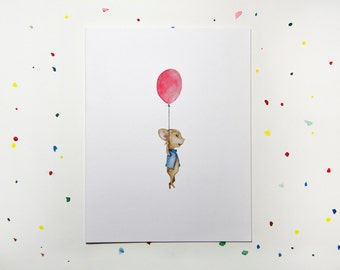 Balloon & Mouse Greeting Card