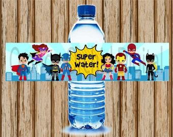 INSTANT DOWNLOAD- Superhero Water Bottle Labels- Sibling Superhero Water Bottle Labels- Superhero Birthday Party- Superhero Labels