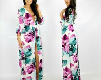 Maxi floral romper dress - Magenta