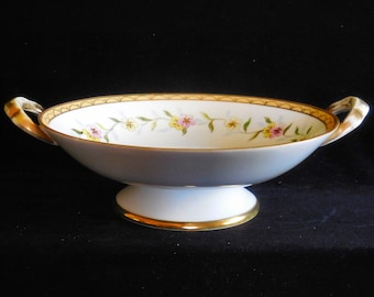 Nippon Hand Painted Footed Bowl with Handles