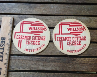Vintage Cottage Cheese Flats/ Rounds / Lids from Wilson's Dairy