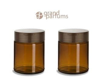 2 AMBER GLASS 8 Oz Empty Cosmetic Jars 240ml w/  Pearl Copper or Silver Upscale Caps Body Butter, Sugar Scrubs, Balms, Bath Salt Conditioner