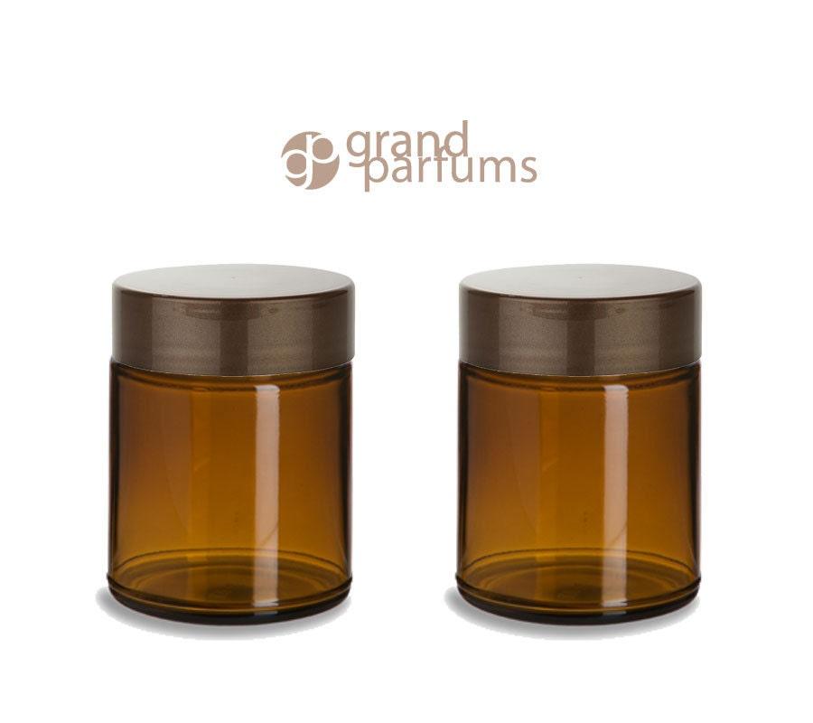 2 amber glass 8 oz empty cosmetic jars 240ml w pearl copper for Custom cosmetic jars